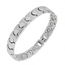 Steel bracelet in silver colour - magnetic, shiny-matt links
