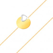 14K gold bracelet - fine chain, shiny flat circle, heart contour made of white gold