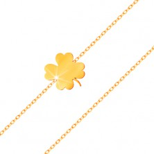 Bracelet made of yellow 14K gold - shiny four-leaf clover, thin chain composed of oval links