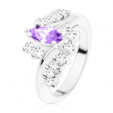 Ring in silver hue, dark violet cut grain, zircon clear lines