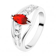Glossy ring in silver hue, clear zircon lines, red grain
