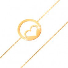 585 gold bracelet - symmetric heart contour in hoop, high-gloss