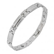 Magnetic steel bracelet in silver colour, shiny-matt links with strip in the middle