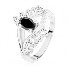 Shiny ring in silver colour, smooth and zircon line, black oval