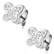 14K gold earrings - white gold, glossy butterfly adorned with tiny clear zircons