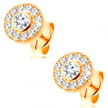 Earrings made of yellow 14K gold - sparkly circle composed of clear zircons, studs