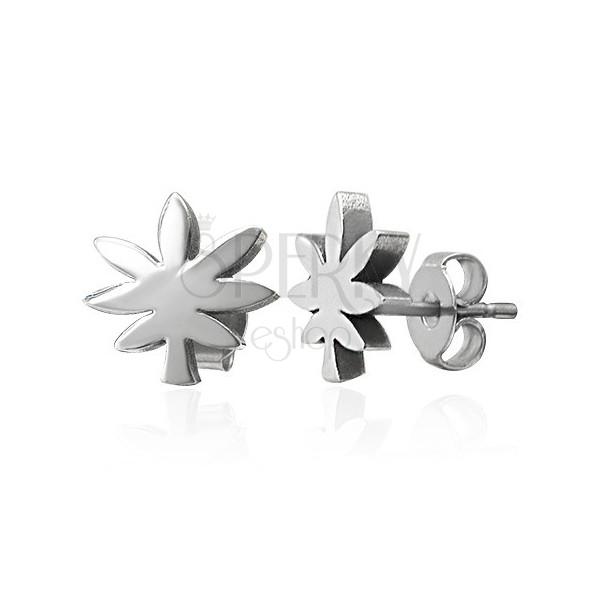 Steel earrings in silver colour - cannabis leaf