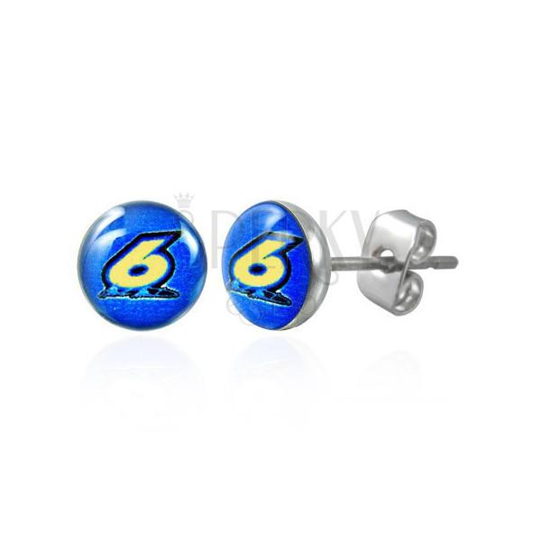 Round steel earrings – figure six on a blue background, clear glaze, studs