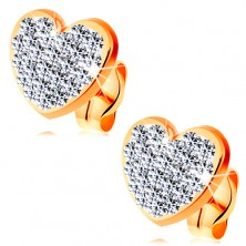 Earrings made of yellow 14K gold - clear glistening heart decorated with Swarovski crystals