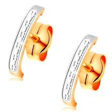 Bicoloured 585 gold earrings - slightly engraved arc embellished with white gold