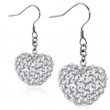 Steel earrings, glistening heart adorned with clear zircons, hooks