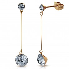 Earrings made of surgical steel in copper colour, two gray zircons, thin post