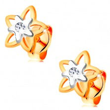Earrings made of 585 gold - bicoloured flower with embedded clear zircon