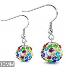Steel earrings, white balls with glittering coloured zircons, hooks
