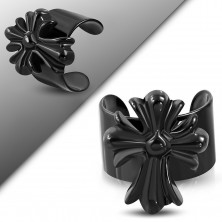 Black steel fake ear piercing, carved cross bottony