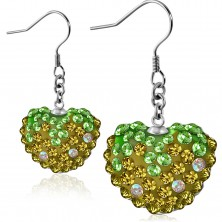 Earrings made of 316L steel - sparkly green-gold zircon heart, Afrohooks