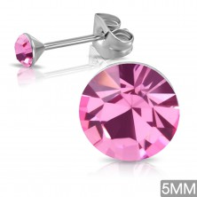 Steel earrings with stud fastening, round pink zircon in mount