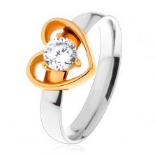 Steel ring - bicoloured, thin heart contour, round clear zircon