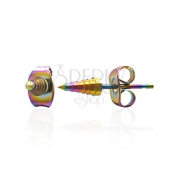 Steel earrings - anodized spikes