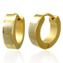 Golden colour surgical steel earrings - Love Kiss