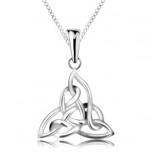 925 silver necklace, three-point Celtic knot, chain composed of elliptical links