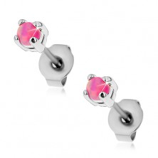 Earrings made of surgical steel, round synthetic opal in pink colour, studs, 3 mm