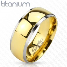 Titanium ring with shiny centre in gold hue and borders in silver colour, 6 mm