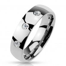 Steel band in silver colour, shiny smooth surface, three clear zircons, 6 mm