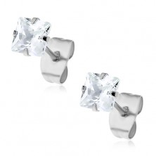 Sparkly earrings - 316L steel, square zircon in clear colour, studs, 5 mm