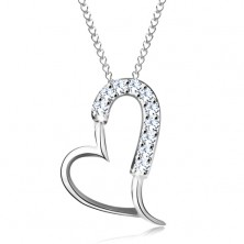 925 silver necklace - glossy asymmetric heart contour, thin chain