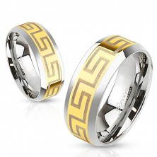 Ring made of surgical steel, middle strip in gold colour, Greek key, 8 mm