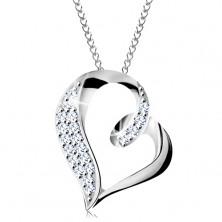 925 silver necklace, asymmetric heart contour with hook and zircons