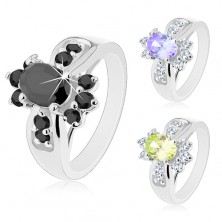 Ring in silver colour, coloured zircon oval and round clear zircons