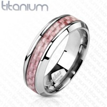 Titanium band in silver colour, middle strip made of pink fibres, 6 mm