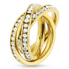 Triple ring made of 316L steel in gold colour, loops with round clear zircons