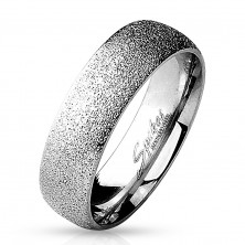Ring made of surgical steel with sanded surface, silver colour, 6 mm