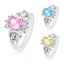 Ring in silver hue, cut coloured oval, round and oblong clear zircons
