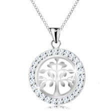 925 silver necklace, pendant - shiny tree of life in glossy circle