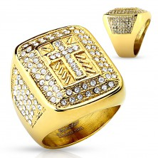 Massive ring in gold colour, 316L steel, clear zircons, Latin cross, notches