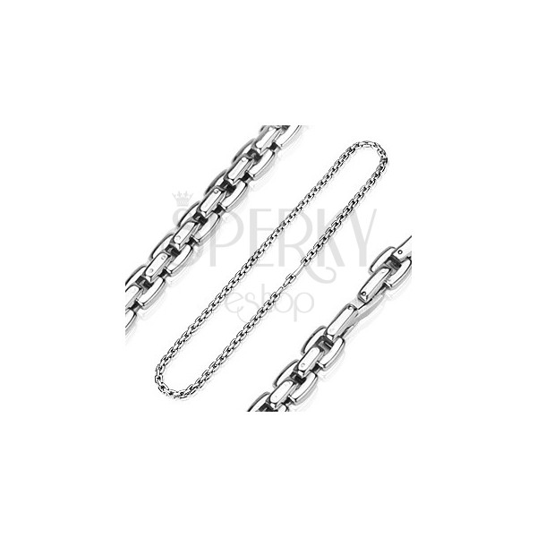 Steel chain in silver colour composed of square links