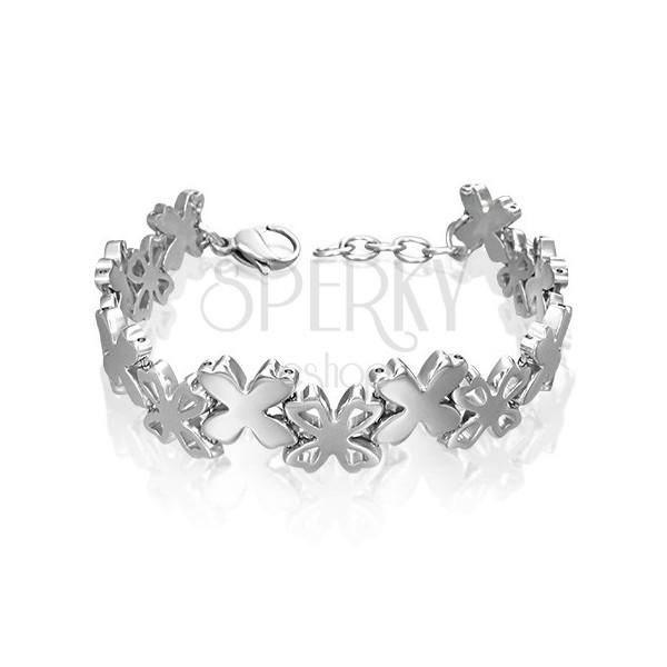 Surgical steel bracelet with flower links