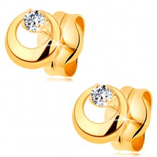 585 gold earrings - glossy diamond in clear colour in protruding circle with cut-out
