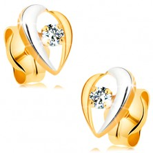 Earrings made of 14K gold - bent strips lining a clear diamond, bicoloured