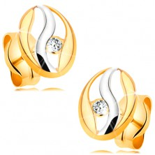 Diamond earrings made of 14K gold - oval contour with wave made of white gold, brilliant