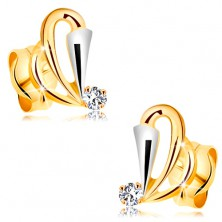 585 gold earrings with clear diamond - teardrop contours, widened strip made of white gold