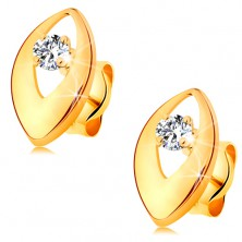 Brilliant earrings made of yellow 14K gold - glistening diamond in shiny grain