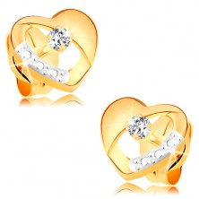 Earrings made of 14K gold - symmetric bicoloured heart with diamond and cut-out