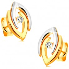 Earrings made of 14K gold - joined bicoloured horseshoes and clear lustrous diamond