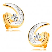 585 gold earrings - partial bicoloured teardrop contour, round clear diamond