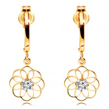 Diamond earrings made of yellow 14K gold - dangling flower with glossy diamond